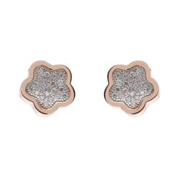 Rose Gold Plate Cubic Zirconia Pave Earrings