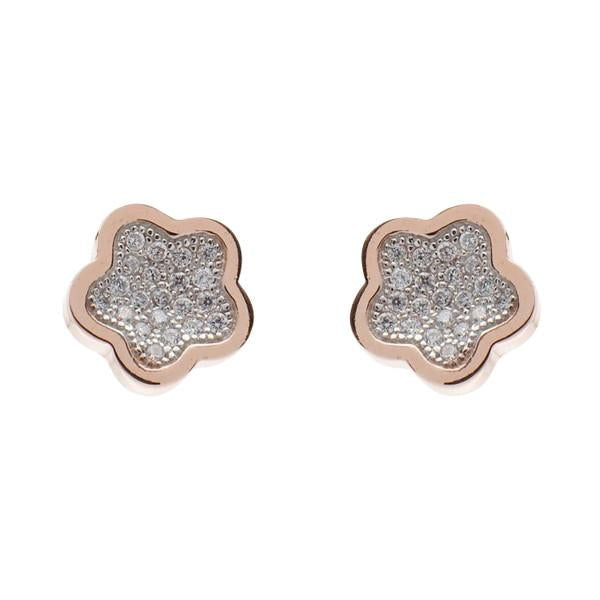 Flower Stud Earring - Rose Gold / Cubic Zirconia