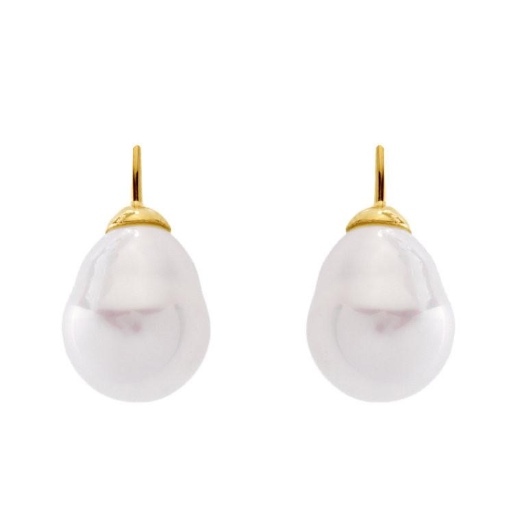 White Baroque Pearl on Yellow Gold French Hook 10x12mm