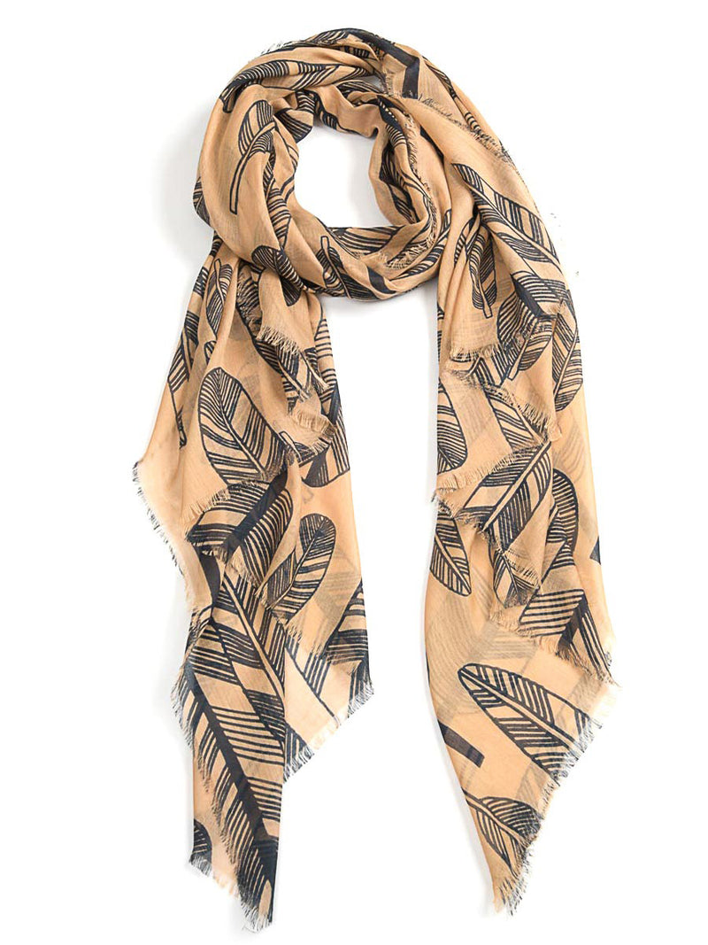 Feather Scarf - Coffee