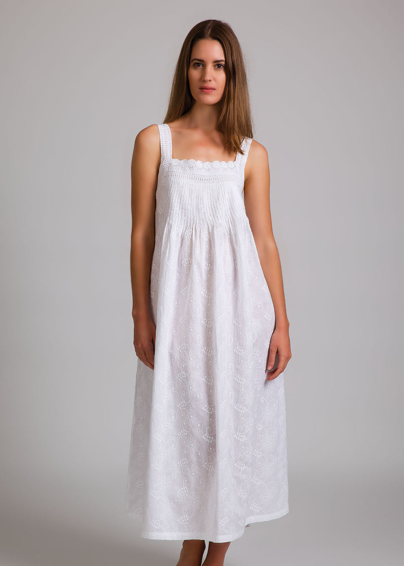 White Cotton Nightie with Lace Strap and Embroidery