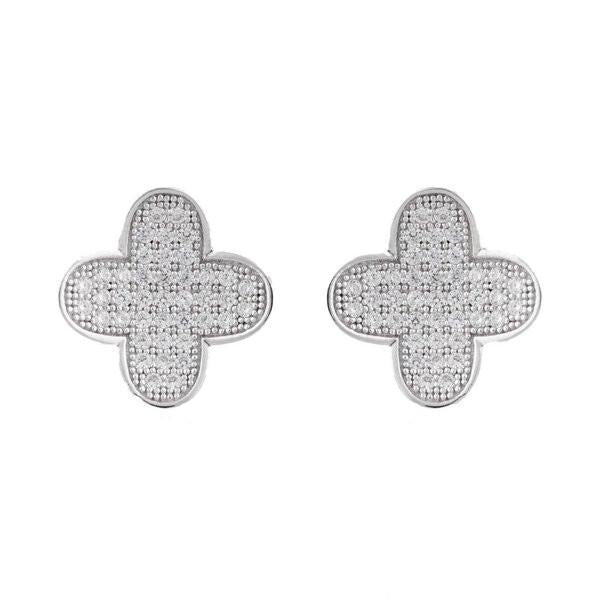 Cubic Zirconia Micro Pave Four Leaf Clover Earrings