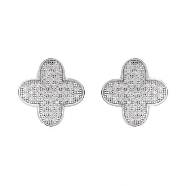 Micro Pave Cubic Zirconia Four Leaf Clover Earrings