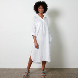 Biarritz linen shirt dress - Navy