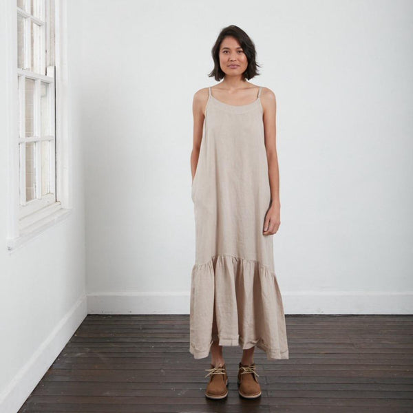Longline Linen maxi dress with frayed edge - Natural