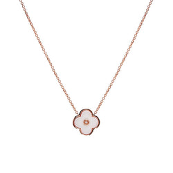 White Flower Rose Gold Necklace
