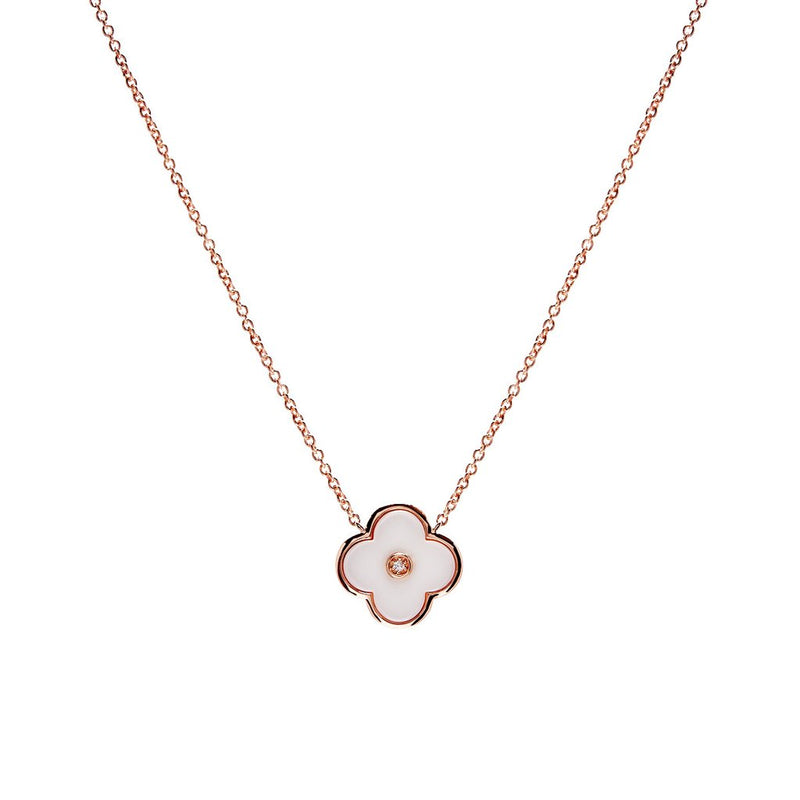 Flower White Enamel and Rose Gold Necklace