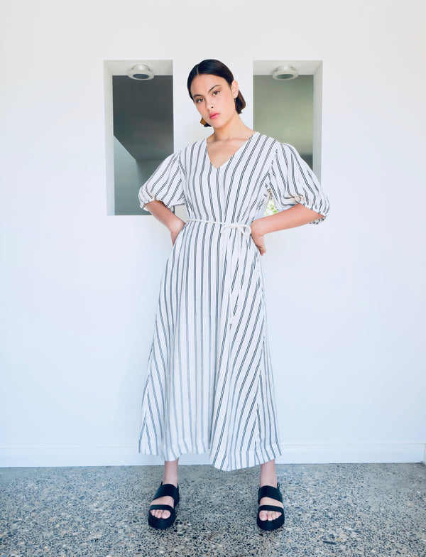 Balloon Sleeve Dress - Stripe