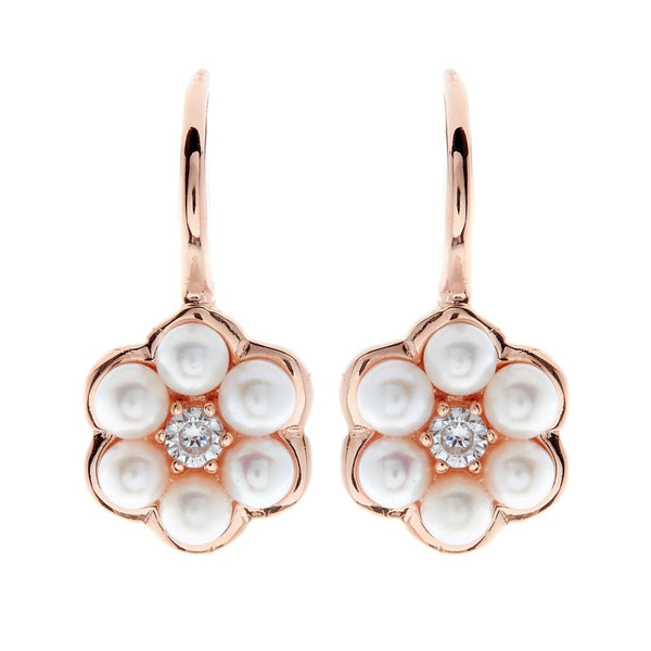 Rose Gold Button Pearl Flower Earrings