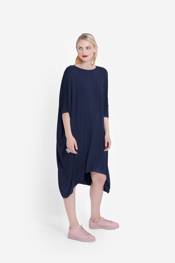 Wide Stretch Dress - Navy