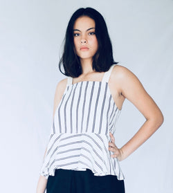 Swing Cami with Peplum Hem - Stripe