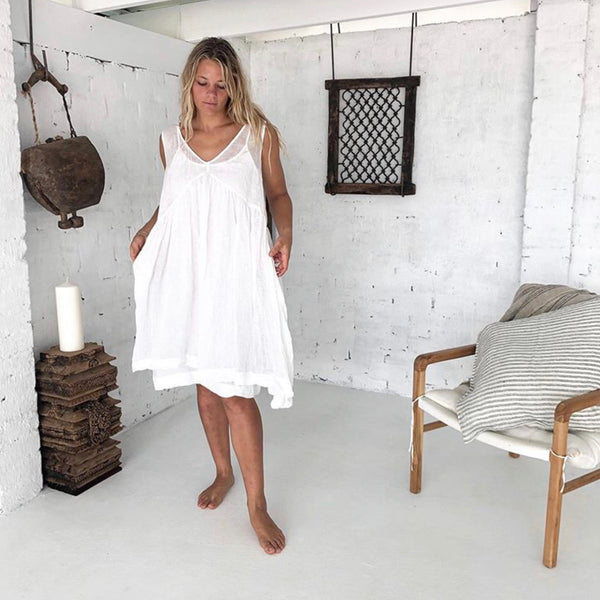 Annie Linen Dress - White