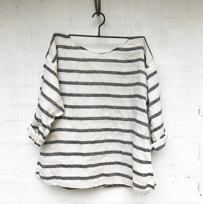 Jane Linen Top - White and Black Stripe