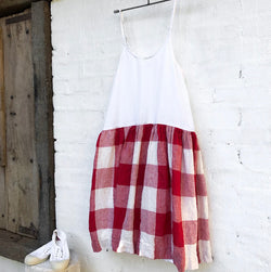 High Tea Slip Dress - Red & White Square