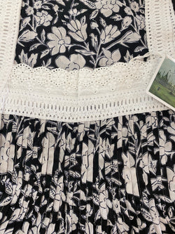 Hand Block Printed Lace Nightie - Black and White Floral