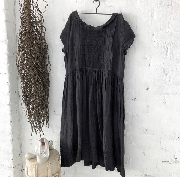 Alice Linen Dress Short Sleeves - Black