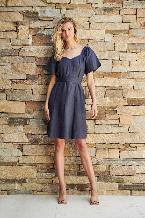 Veronica Linen Dress - Navy