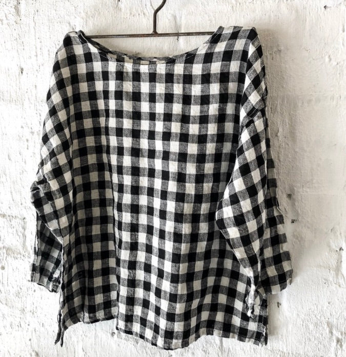 Jane Linen Black & White Gingham Top