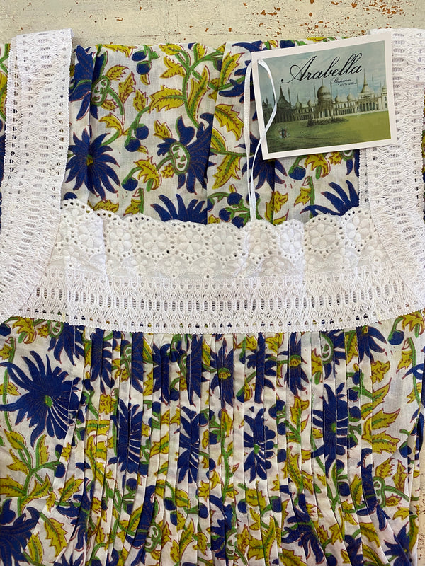 Hand Block Printed Lace Nightie - Blue Flower Print