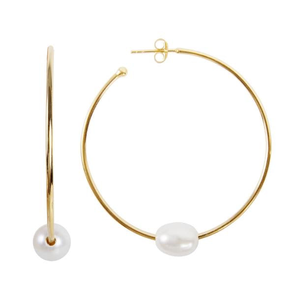 Pearl Slider Hoops - Gold