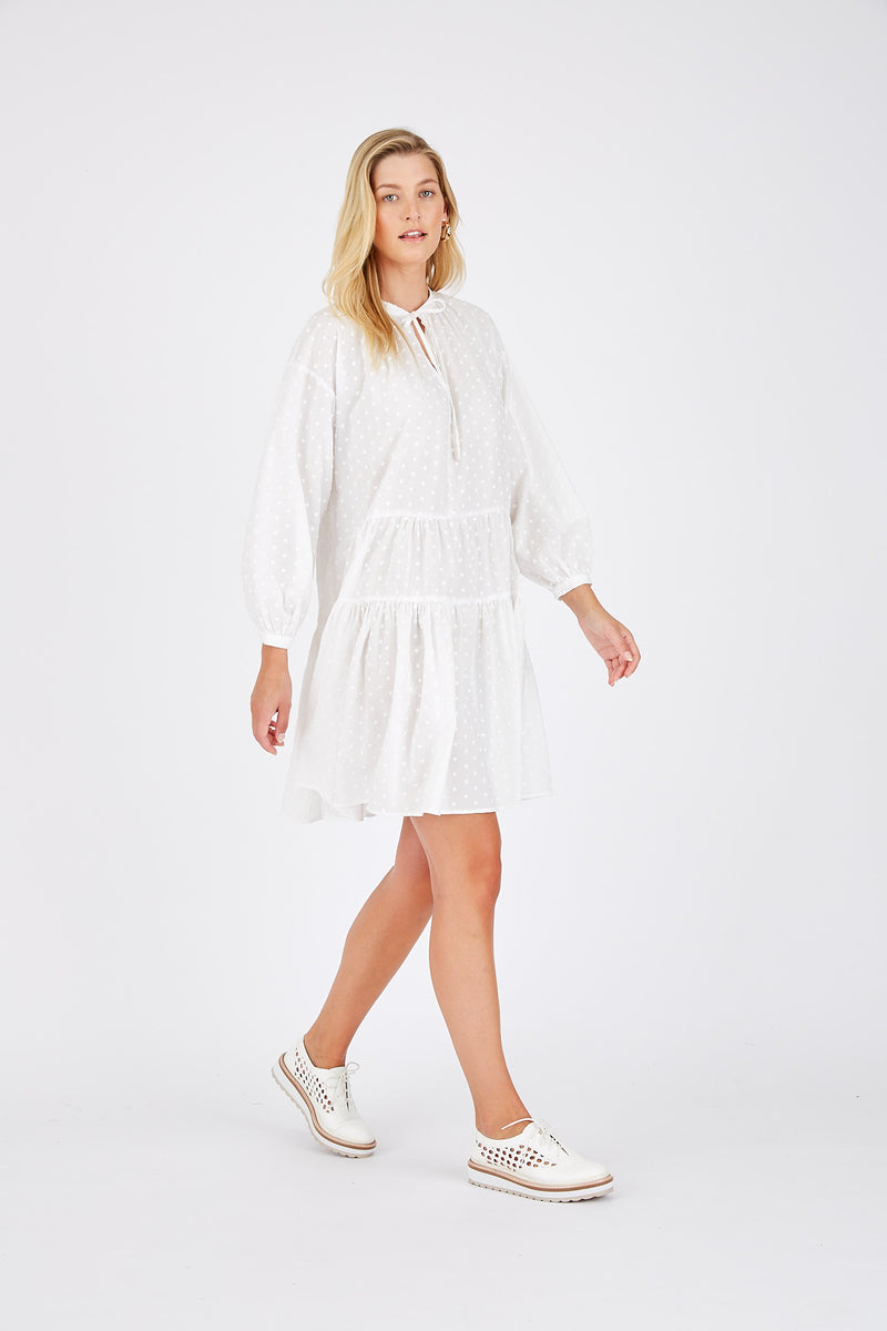 Amelia Dress in Dobby - White