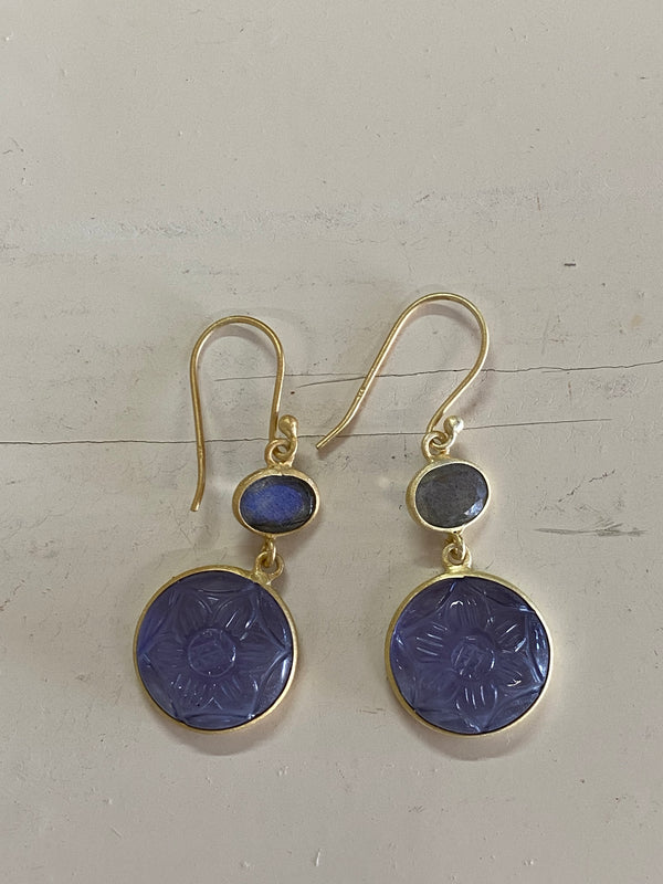 Carved Iolite glass & Labradorite earrings
