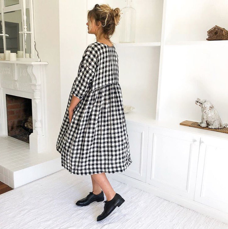 Sarah Linen Dress - Black and White Gingham