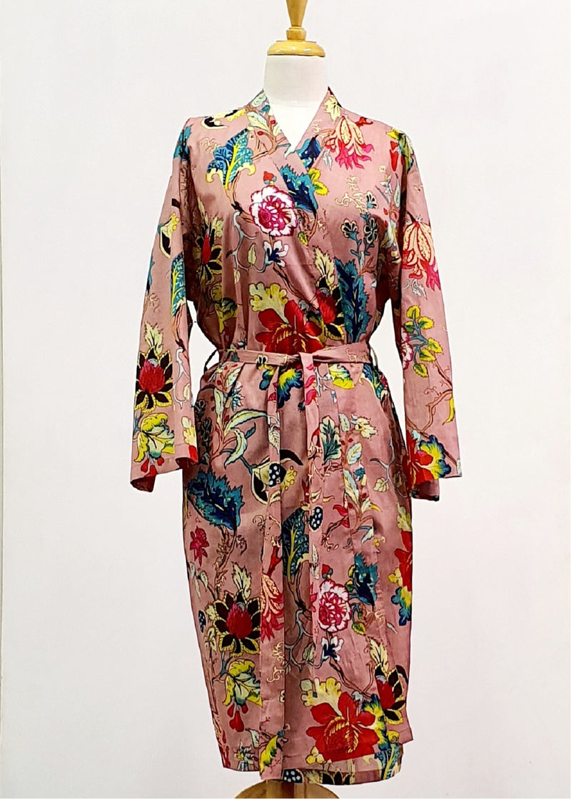 Hand Block Printed Dressing Gown - Red/Pink Flower