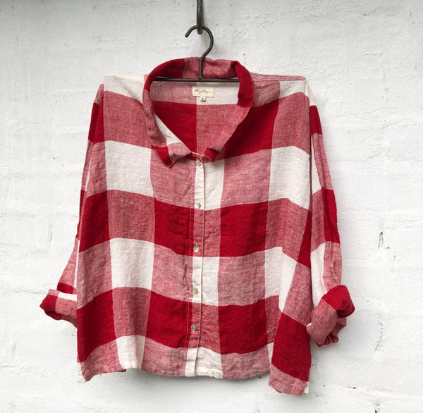 Avery Linen Shirt - White and Red Square