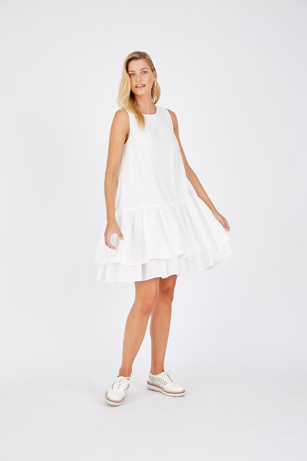 Tullie Dress in Dobby - White