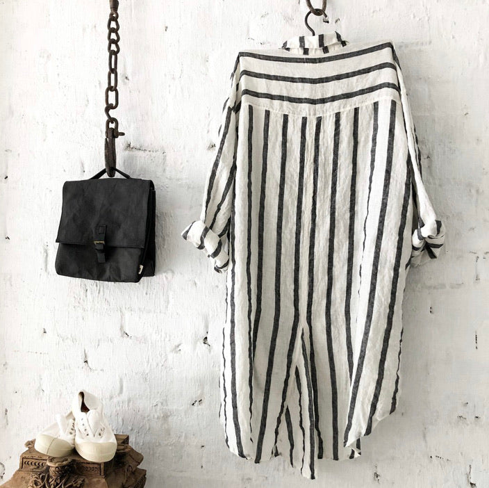 Harper Linen Shirt - Charcoal and White Stripes
