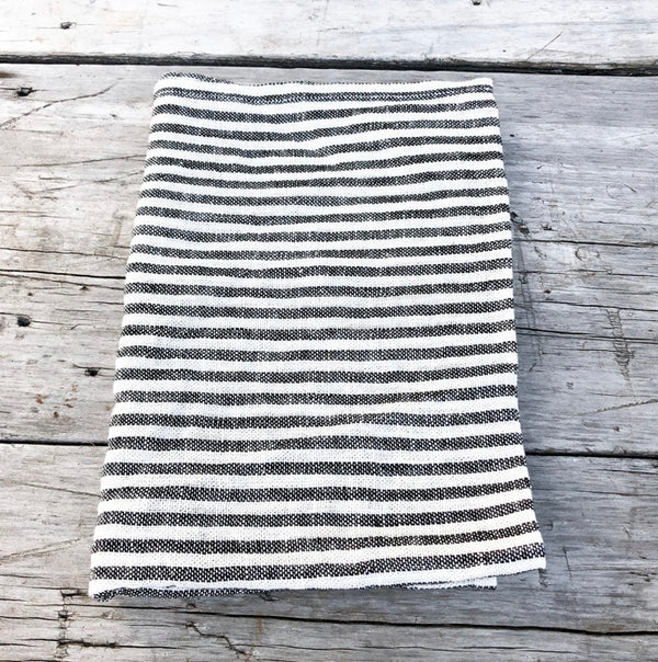 Tea Towel - Black and White Stripe