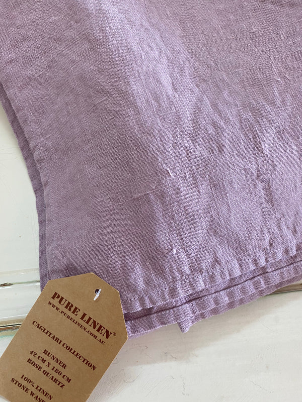 Caglitari Linen Table Runner - Rose Quartz
