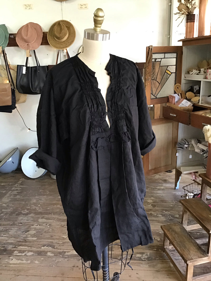Lora Linen Top - Black