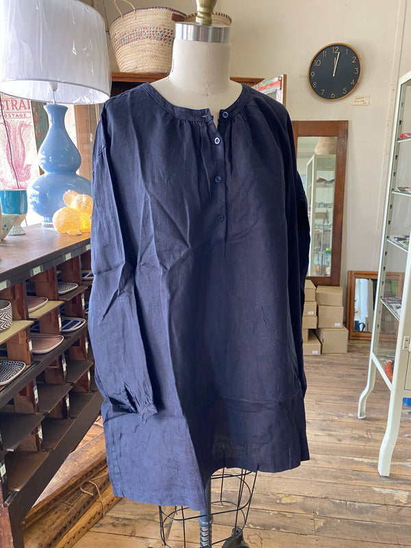 Paysanne Linen Smock - French Navy
