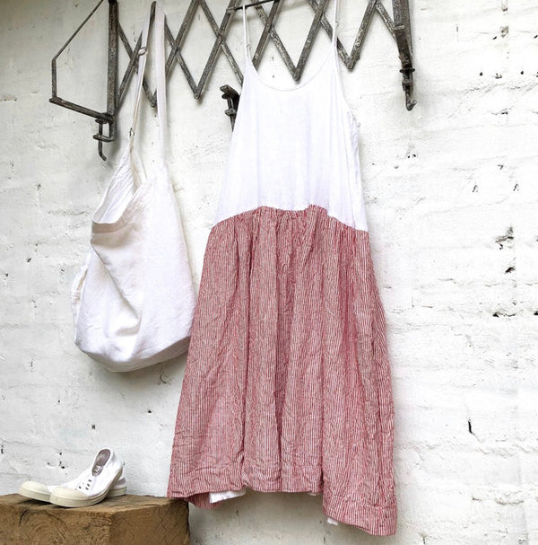 High Tea Slip Dress - Red & White Stripe