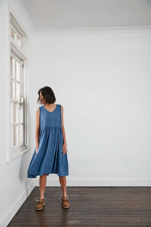 V Neck Linen Dress - French Navy