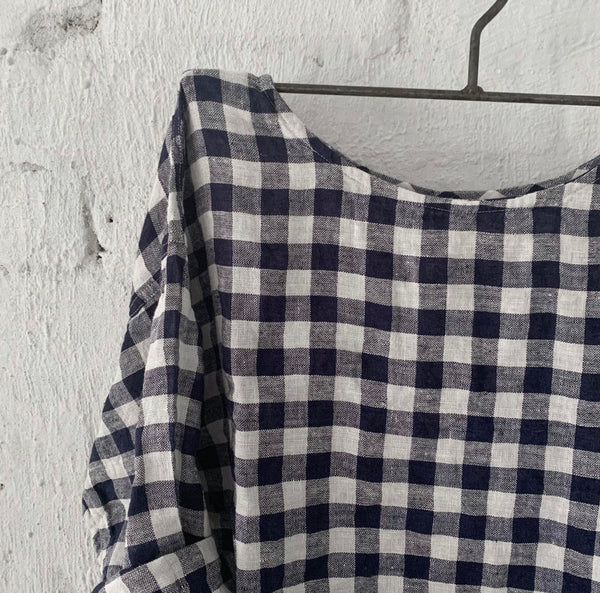 Jane Linen Navy & White Gingham Top