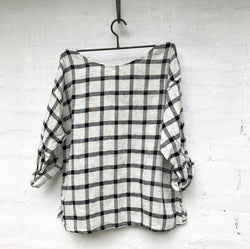 Jane Linen Top - Black and White Grid