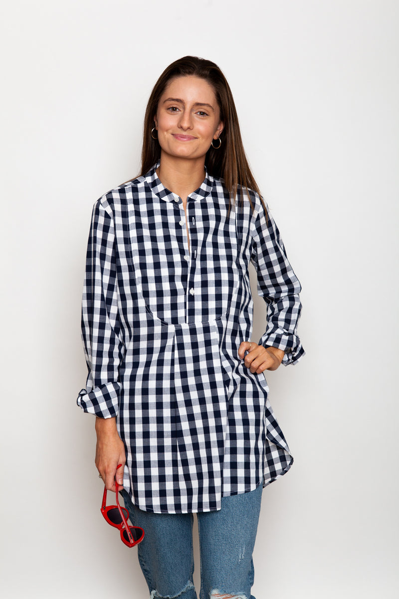 Crosby Band Collar Gingham Tunic