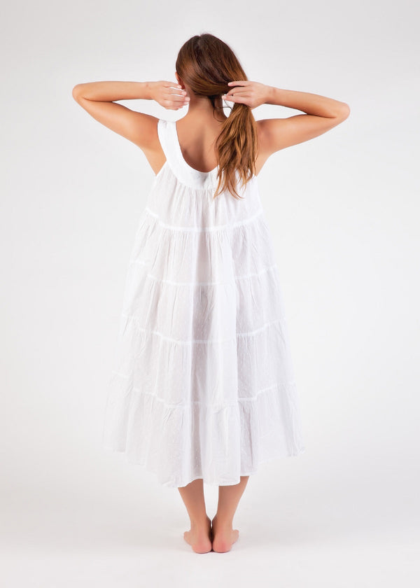 White Spot Cotton Tiered Nightie