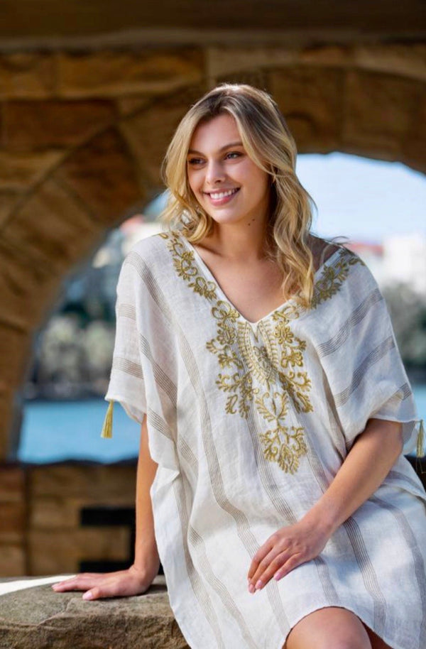 Shelley Embroidered Kaftan in Impala Empire