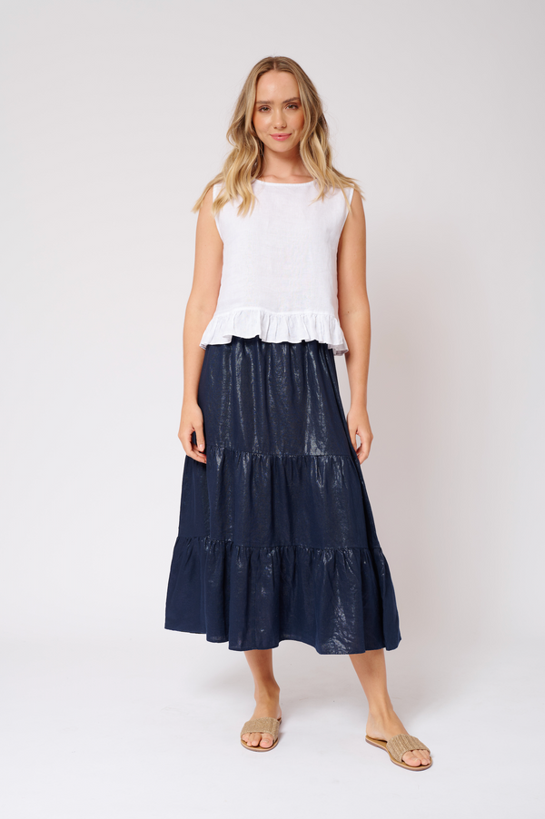 Delilah Skirt in Lurex Linen - Navy