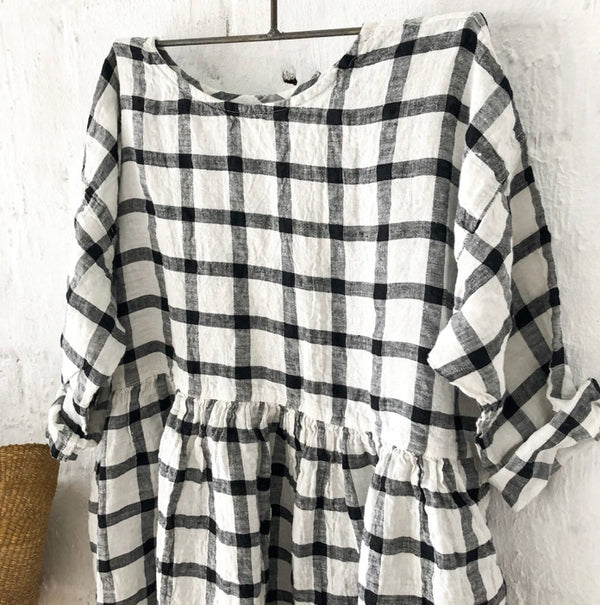 Sarah Linen Dress - Black and White Grid