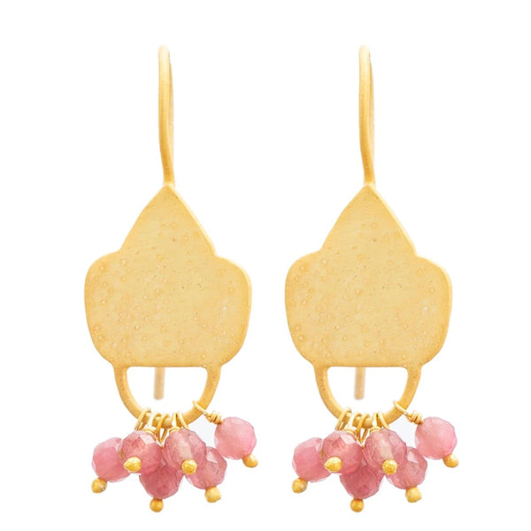 Gold plate Pink Tourmaline shield earrings