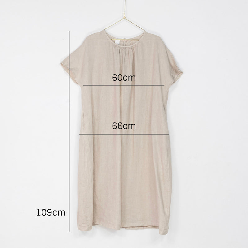 Gathered short sleeve linen dress - Natural