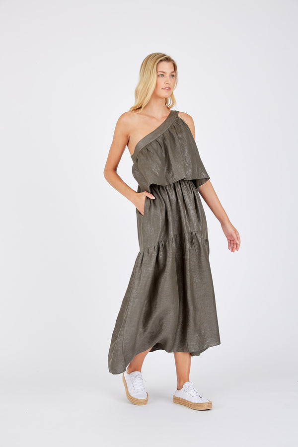 Olympia Dress in Lurex Linen - Kahki