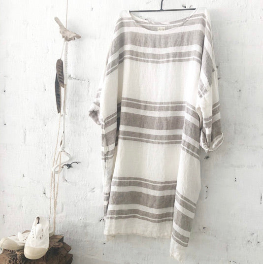 Newport Linen Dress - Grey Stripe
