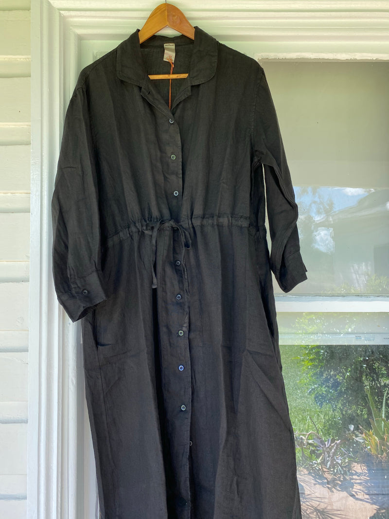 Drawstring Linen Dress - Black