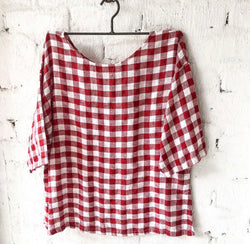 Jane Linen Top - Red and White Gingham